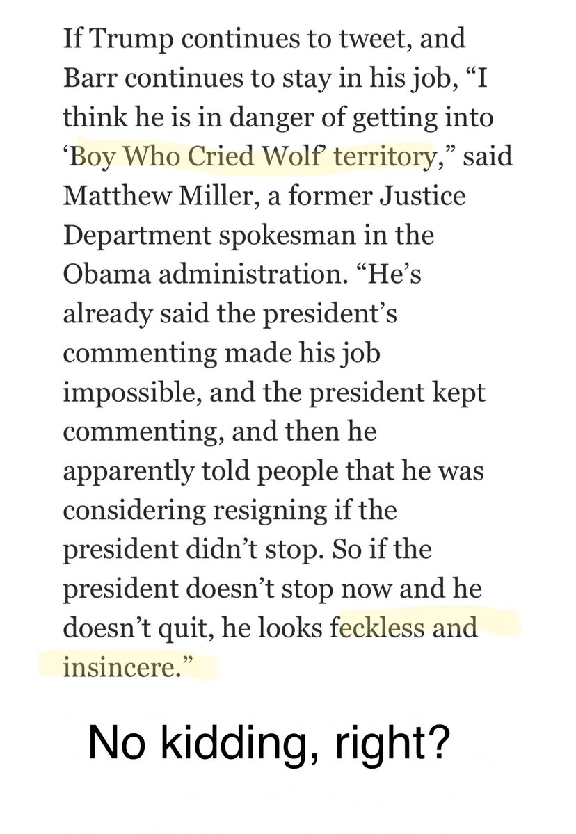 "Right, Barr is ""boy who cried wolf"", we all know it's a lot darker, deeper and more criminal than that!   #Barr #BarrResign #BarrLies #BarrCoverUp #DisbarBarrNow #OneVoice1 #ImpeachBarrNow #BarrMustGo #Maddow #25thAmendmentNow #Bernie #DemDebates"