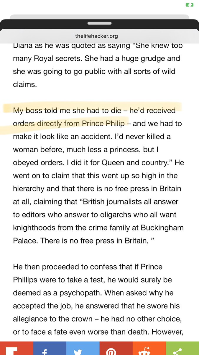 According to News Break. It was #PrincePhillip ordered MI5 Agent to Kill #PrincessDiana and make it look like an accident because The people's Princess knew too much about the Royal family and was going to the public about it. #TheRoyalFamily. pic.twitter.com/gruXIuTeD6
