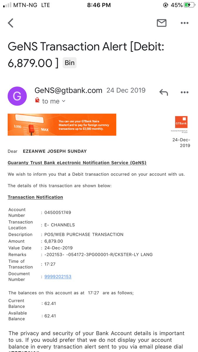 @gtbank_help attached below is the remaining transaction details, i urge gtbank to please look into this and help me get my money back . thank you. pic.twitter.com/lYEvEYIsc6