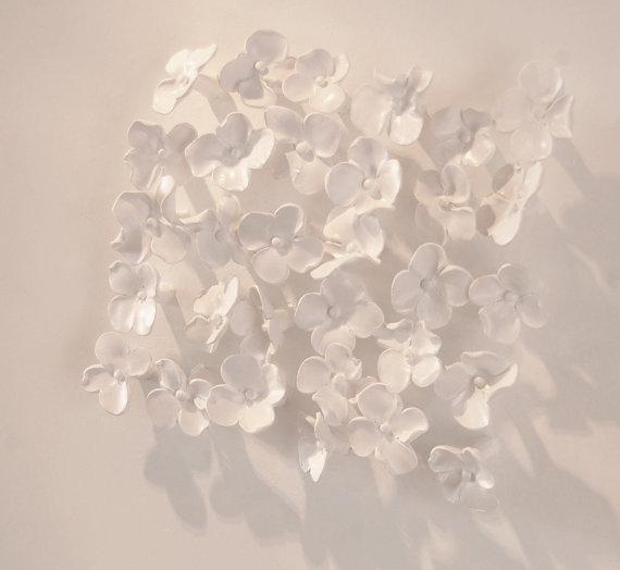 Hydrangea Wall Art 3D Sculpted Clay White  http://dld.bz/fj6jh   3d #clayart  #sculpture  #flowers  #white