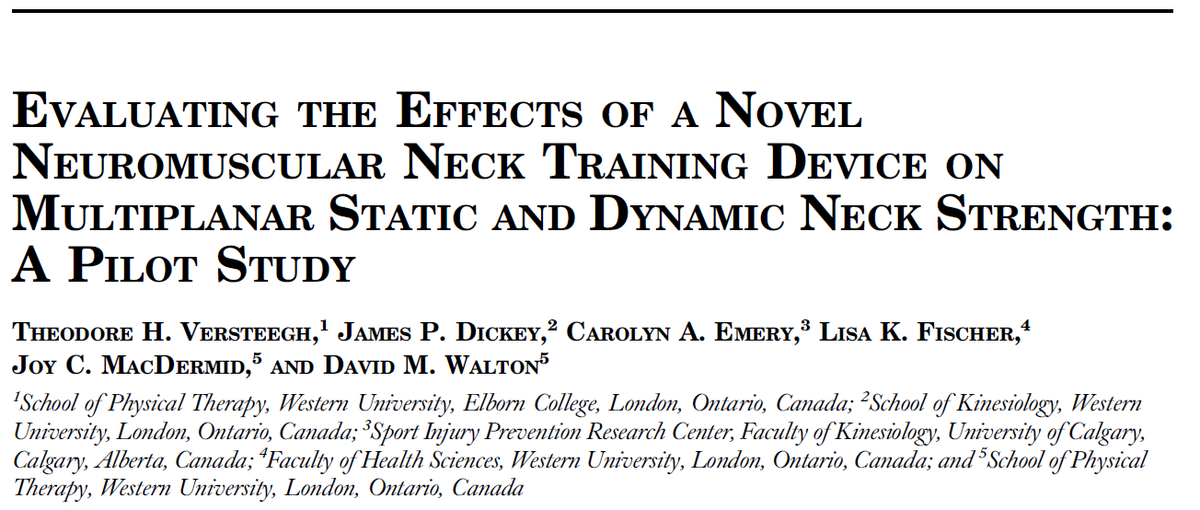 The neck serves an important function in damping the transference of acceleration forces between head & trunk  Study explores training effects of a novel #neuromuscular  strengthening protocol on dynamic & static neck #strength   #concussion  #NeckStrength    https://journals.lww.com/nsca-jscr/Abstract/2020/03000/Evaluating_the_Effects_of_a_Novel_Neuromuscular.14.aspx  …