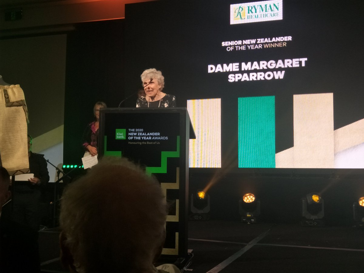 Next category: Ryman Healthcare Senior New Zealander of the Year is awarded to Dame Margaret Sparrow, with a well deserved standing ovation. Thank you for your ongoing passion & dedication to the field of medicine & to the community. #bestofus #nzoty #nzoty2020pic.twitter.com/alzfhjgbrO