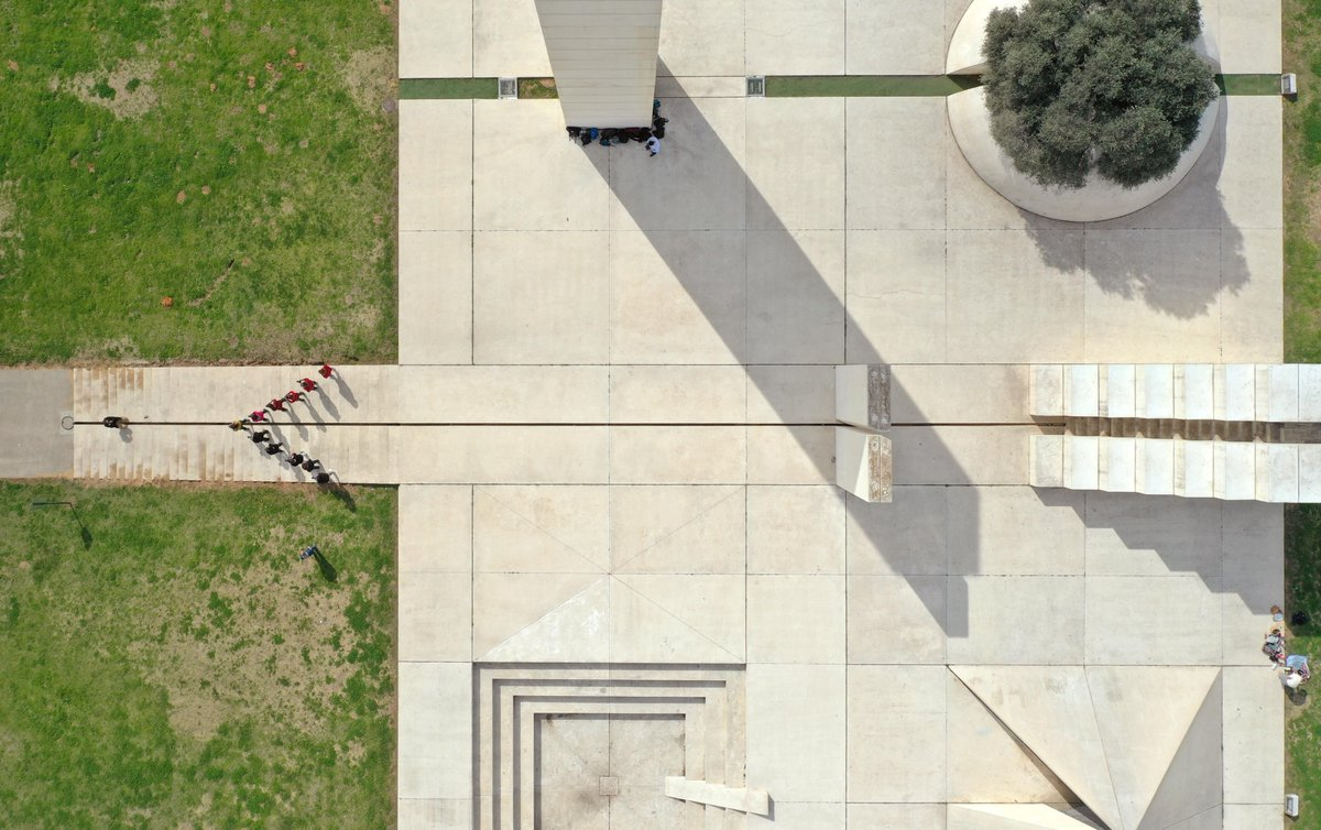 Did you find your direction?  Aerial photography of The White City, environmental sculpture by artist Danny Caravan Tel Aviv  #architecture  #sculpture  #telaviv  #park  #art  #aerialphotography  #droneoftheday