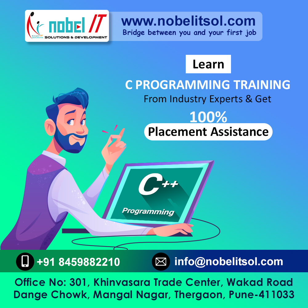 Learn... C PROGRAMMING TRAINING From Industry Experts & Get 100%Placement Assistance  #cprogramming  #angular  #testing  #java   #bigdata  #python  #software  #hadoop   #android  #softskills  #sharemarket  #salesforce  #pune  #english  #nobelitsolutions  #networkmarketing  #technology  #india