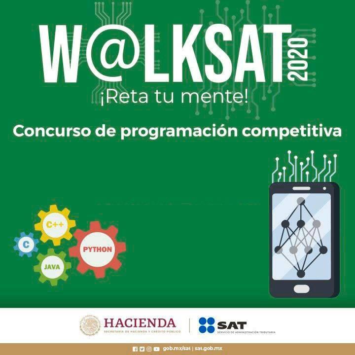 Mañana es el  Concurso de programación competitiva 2020 #WalkSAT ¡Mucho éxito a quienes participan!¡Reta tu mente 🧠!