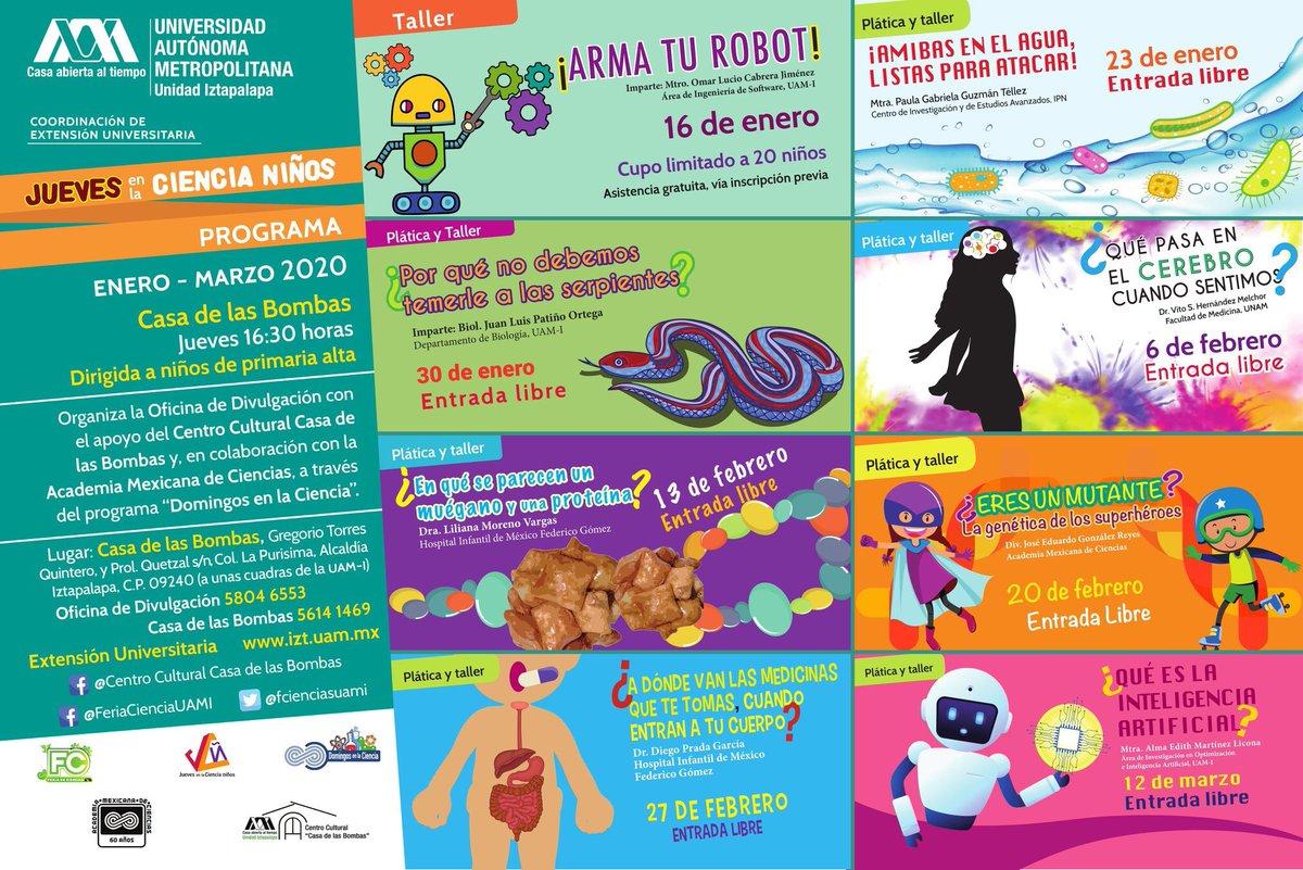 """¿Eres un mutante? ¡Este jueves 20 conoceremos la genética de los superhéroes!   #JuevesEnLaCienciaNiños #JuevesEnLaCienciaUAMI  Con Centro Cultural """"Casa de las Bombas"""" y Academia Mexicana de Ciencias  #UAM #UAMI #AgendaCulturalUAMI  #UAM45años #SoyUAMpic.twitter.com/uCLtLlhuC0"""