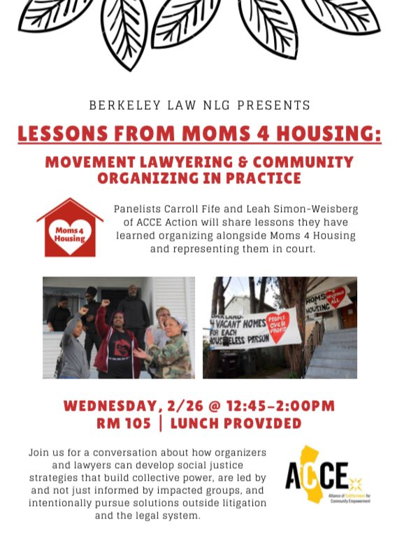 Movement Lawyering and Community Organizing in Practice @ Berkeley Law, Rm 105, UC Berkeley