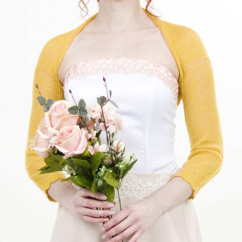#Wedding #bolero #weddingjacket #knit #mustard #yellow #mohair #sweater #handmade #fashion