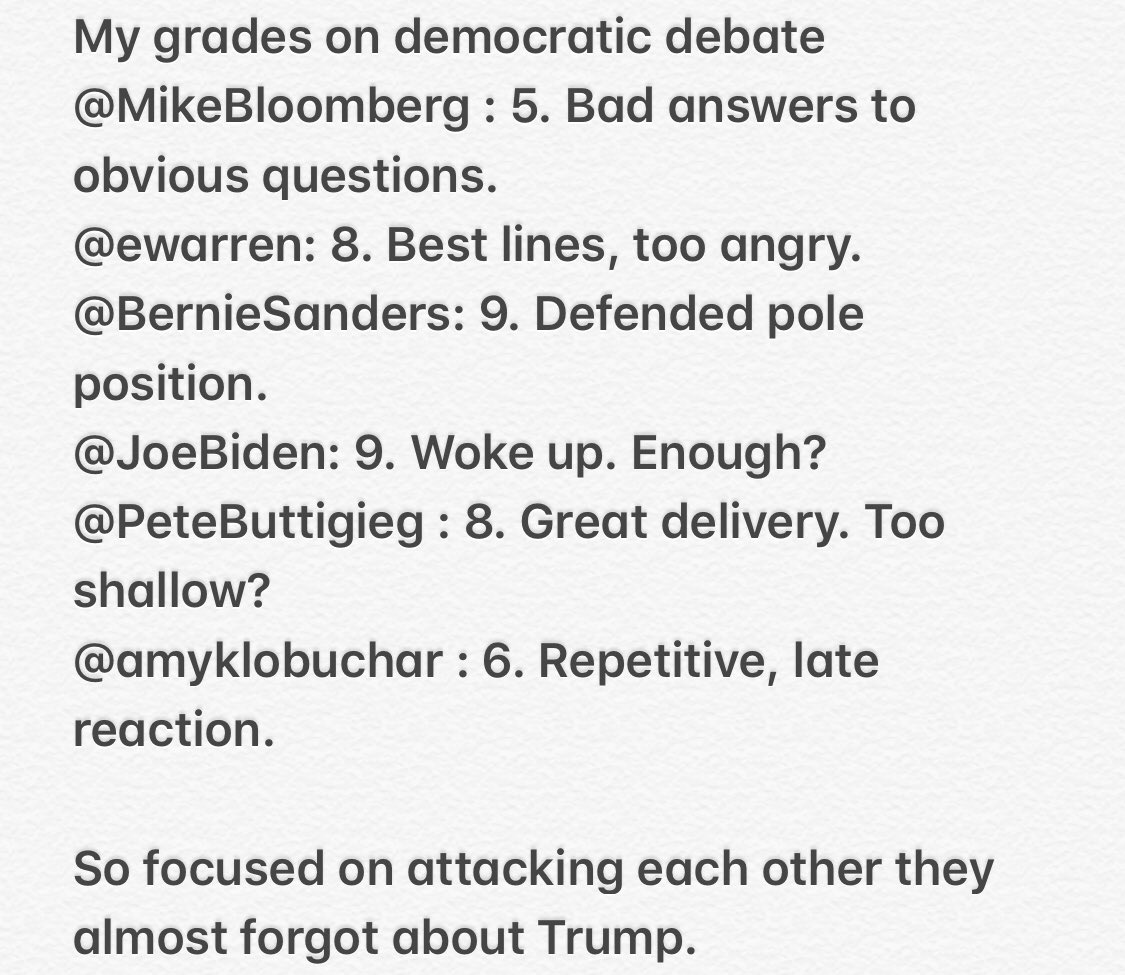 My grades on democratic debate@MikeBloomberg @BernieSanders @ewarren @JoeBiden @PeteButtigieg @amyklobuchar @latinus_us #informaciónparati