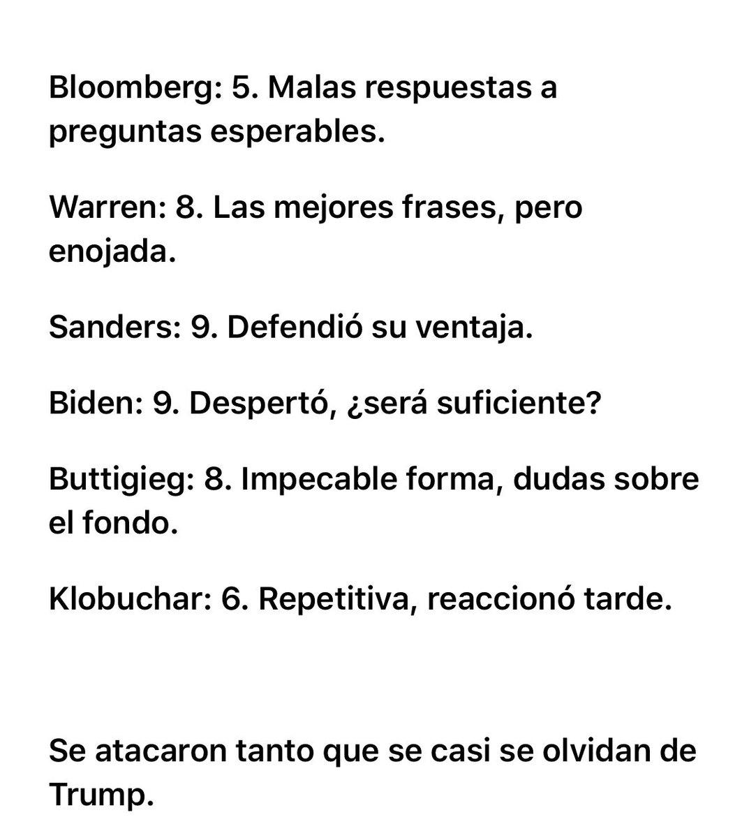 Mis calificaciones del debate presidencial demócrata @MikeBloomberg @ewarren @BernieSanders @JoeBiden @PeteButtigieg @amyklobuchar @latinus_us #Informaciónparati