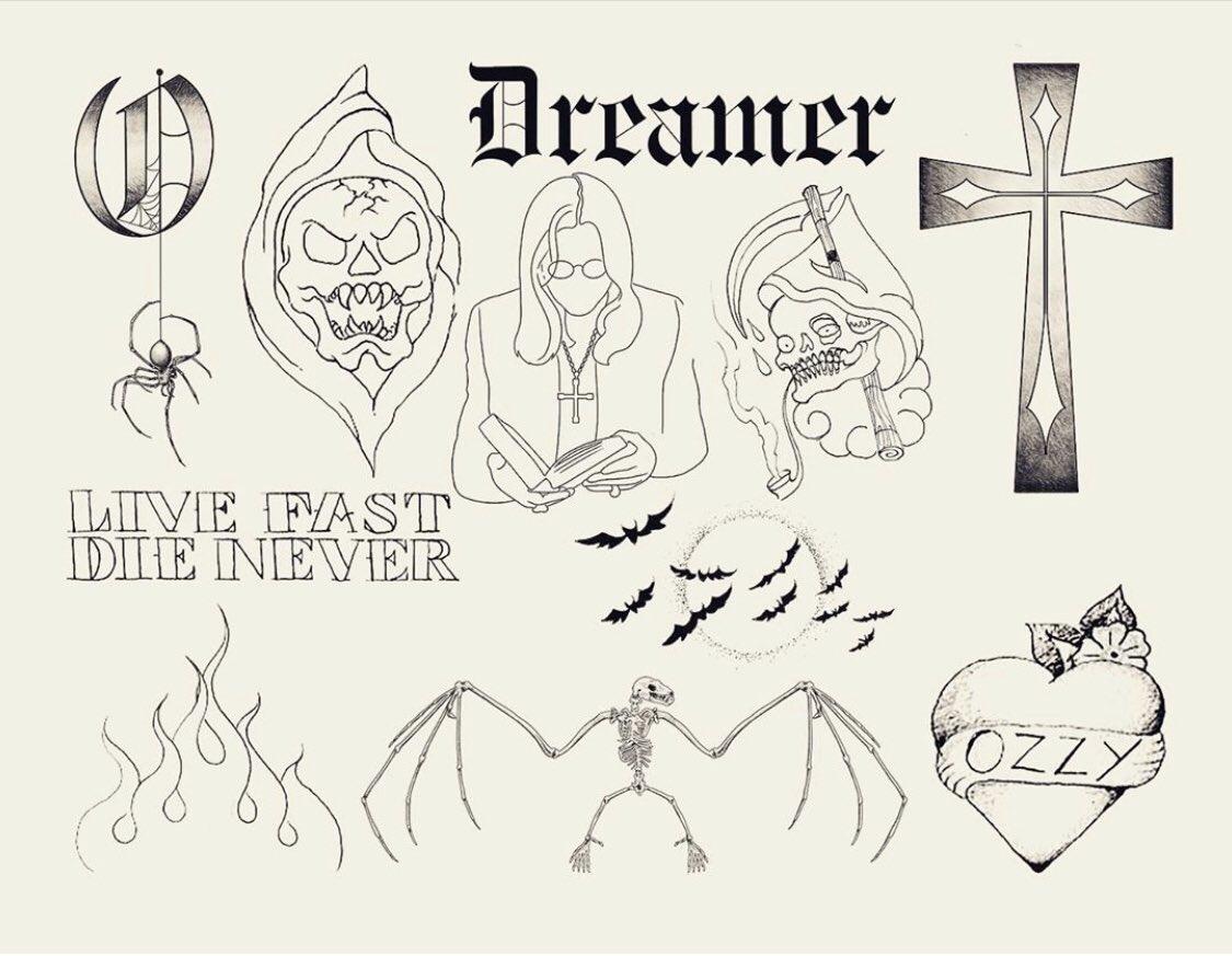 "Calavera Tattoo Flash ozzy osbourne on twitter: ""#shamrocksocialclub: #ozzy tattoo"