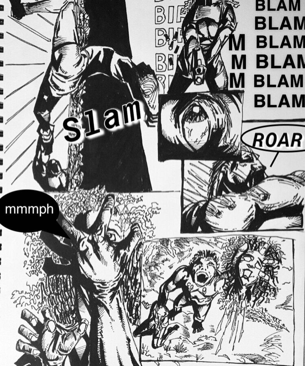 #bigfoot #hunter #ouch #thathurt  #wednesday #wednesdayart #wednesdaymotivation #ink #inkart #inks #hunting #pistol #gun #shooter #artist #artwork #thatsgottahurt #thatsgonnaleaveamark #slam #roar #sketchbook #sketch #comics #comicbooks #story #comicpage #lovepeaceanddirtyjeans