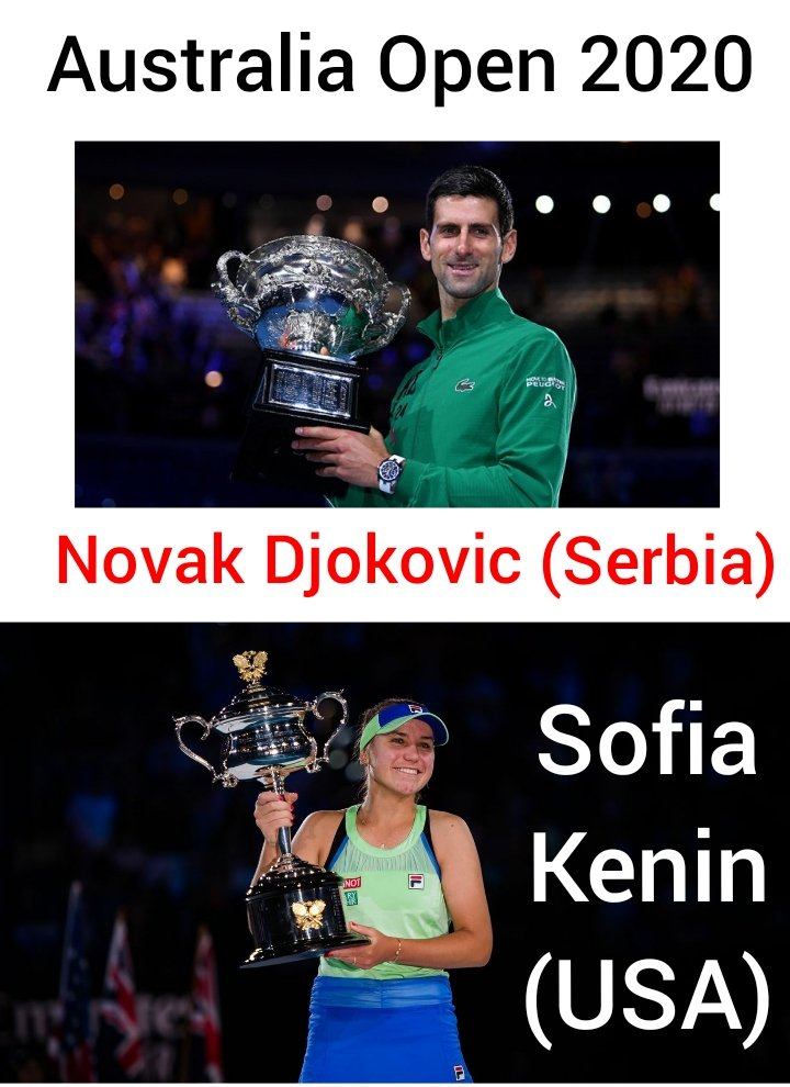 Who were the champions of Australian Open 2020 single titles ?  ~ Novak Djokovic (Serbia)  and Sofia Kenin (USA)  #ThursdayThoughtspic.twitter.com/1mpKLZwZoY