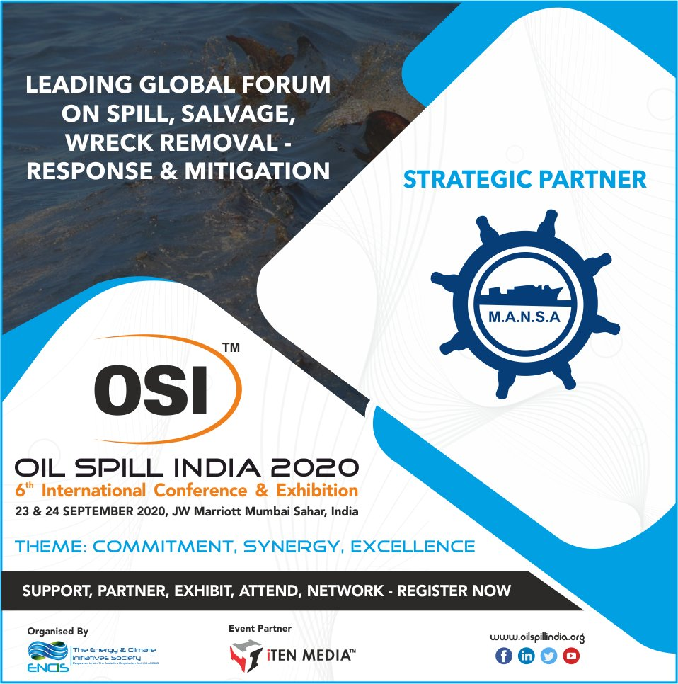 "Pleased to Announce & Welcome, ""MANSA"" as Strategic Partners for OSI 2020 !! #exploration #oilandgas #energy #offshore #oilspill #oil #subsea #onshore #remediation #marine #shipping #mitigation #preparedness #response #renewables #internationalconference #wreckremovalpic.twitter.com/UYD08XWnc4"