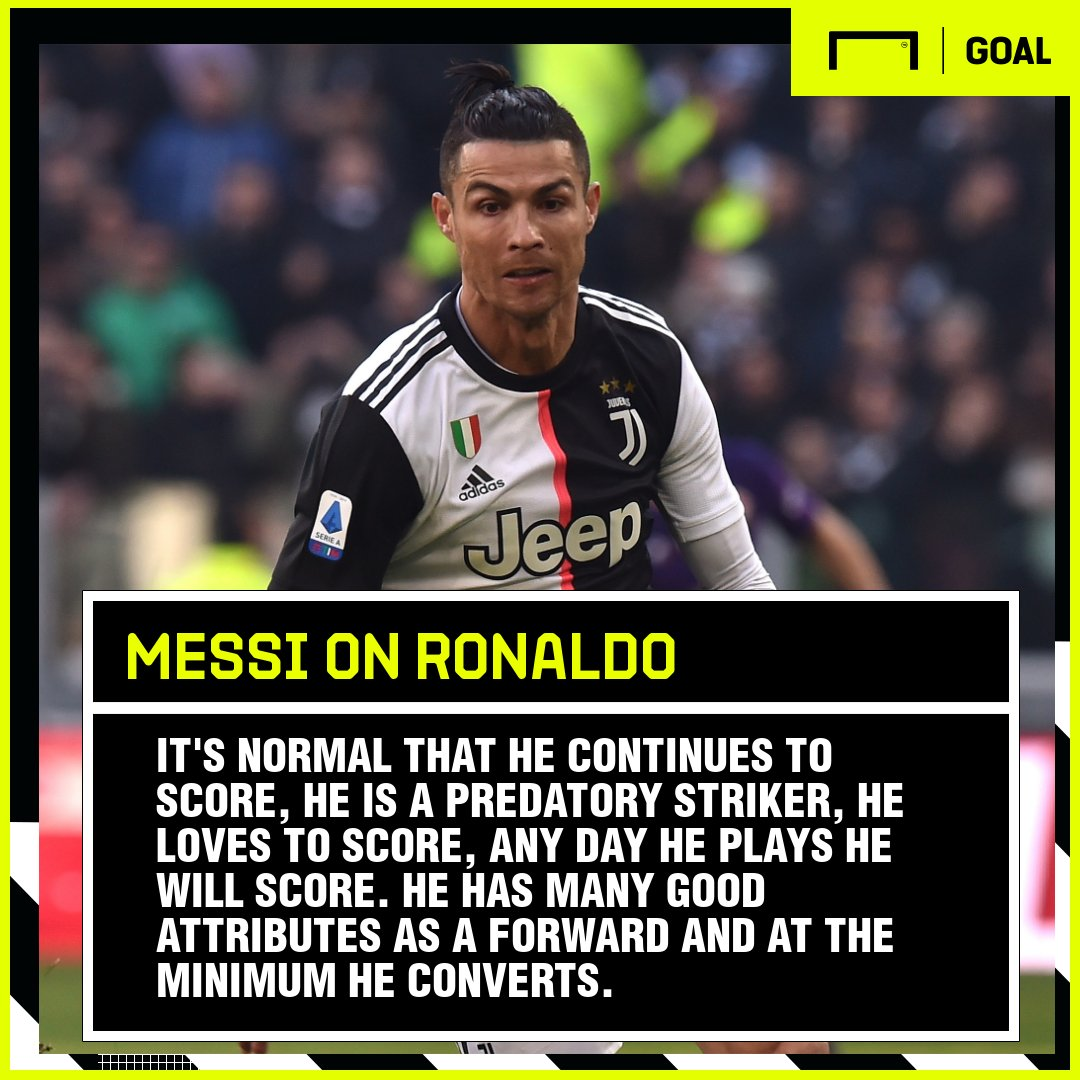 Messi is full of praise for Ronaldos remarkable ability to find the back of the net 👏👏