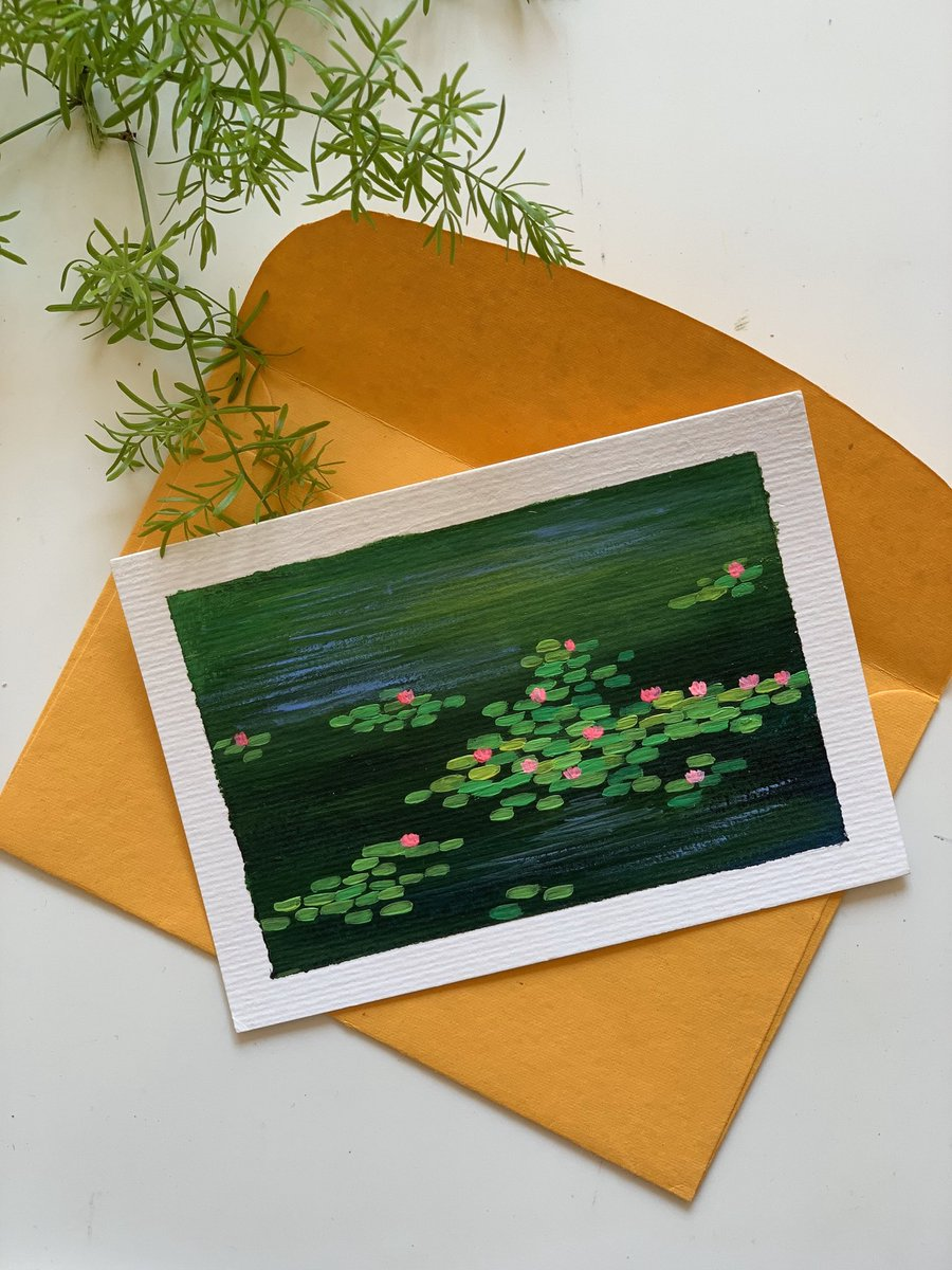 Excited to share this item from my #etsy shop: Postcard Painting of water lilies pond ! Monet Inspired ! Handpainted  #postcard , #waterlilies, #handpainted , #buyhandmade , #monet, #SupportSmallStreamers , #gift , #originalart , #onlineshopping , #etsyshop