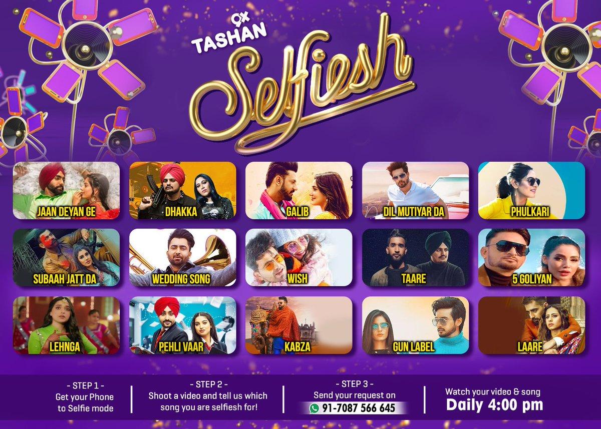 Apne favourite song de naal khud nu dekhna chaune oh? Taan bhejo apni #selfie video gaane di request de naal and choose karo apna gaana ditti list vichon...jisnu assi play karaangey on #9xtashan!   #tashan #tashanyaaranda #punjabihits #punjabimusic #selfieshpic.twitter.com/2NFsIjaIf0