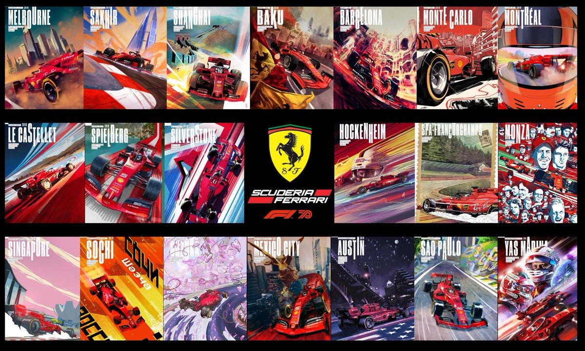All the @ScuderiaFerrari 2019 Race Posters in a single Poster. #F1 #Ferrari  P.S. Still a @redbullracing fan at heart... Go @Max33Verstappen