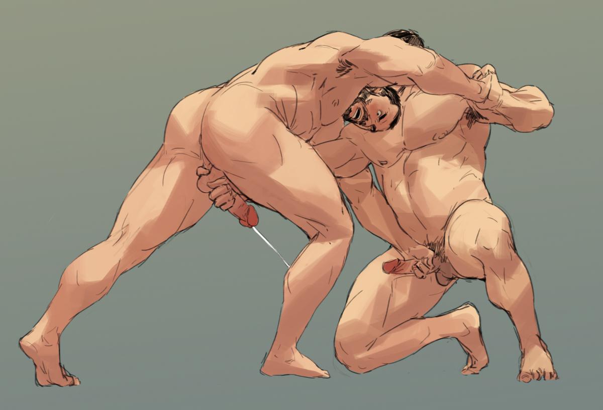 Muscle hairy bear in his wrestling singlet