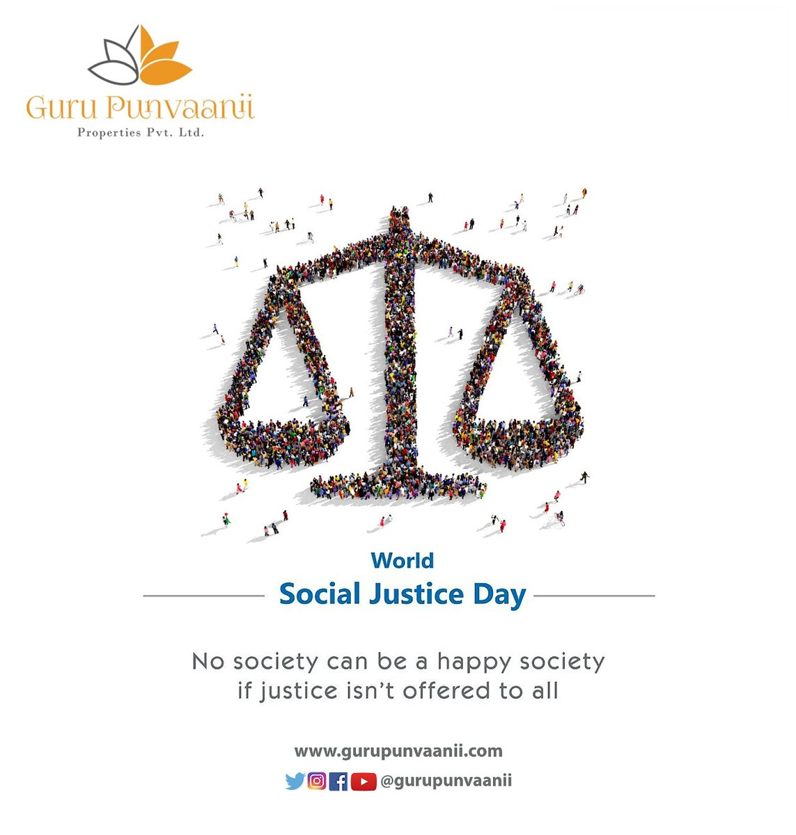 World Social Justice Day.   http://www.gurupunvaanii.com   #worldsocialjusticeday #socialjustice #socialevent #gurupunvaanii #trendingnow #marketing #socialmedia #realestate #architecture #topicalspot #socialmediamarketing #instagram #digitalmarketing #designer #socialevent #graphicpic.twitter.com/P64QjzWSnO