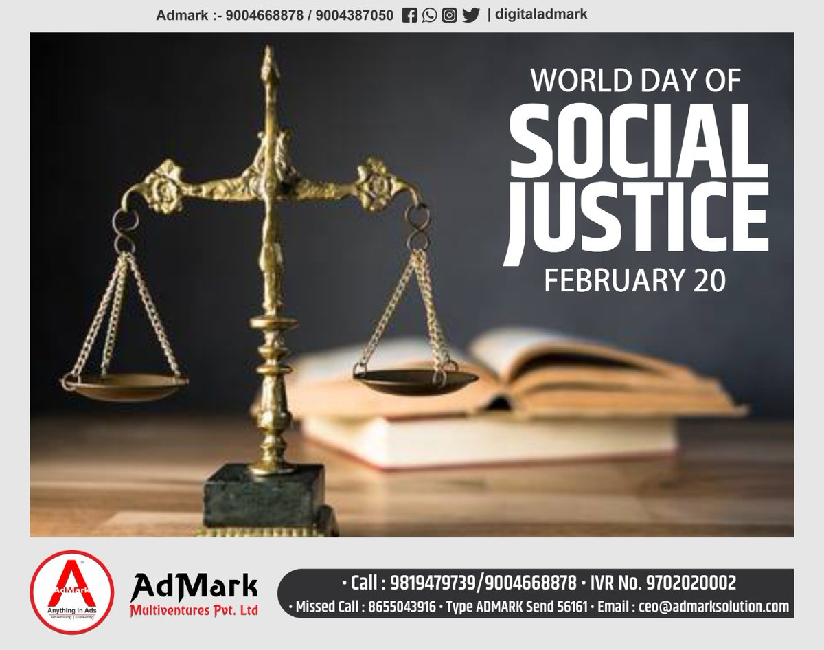 """ The challenge of Social Justice is to evoke a sense of community,  that we need to make our nation a better place ""  #DigitalAdmark #TeamAdmark #DigitalMarketing #ElectionCampaigner #ElectionStrategist #BoothManagement #SocialMediaManagementpic.twitter.com/2V6pLY4bfu"