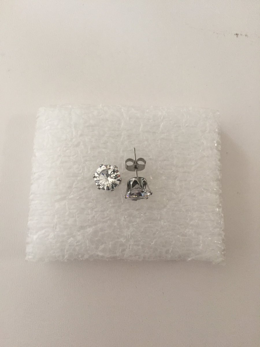 Clear CZ Stainless Steel Earrings    #earring #earrings #cz #clear #silver #stud #JW #grailed #jewelry