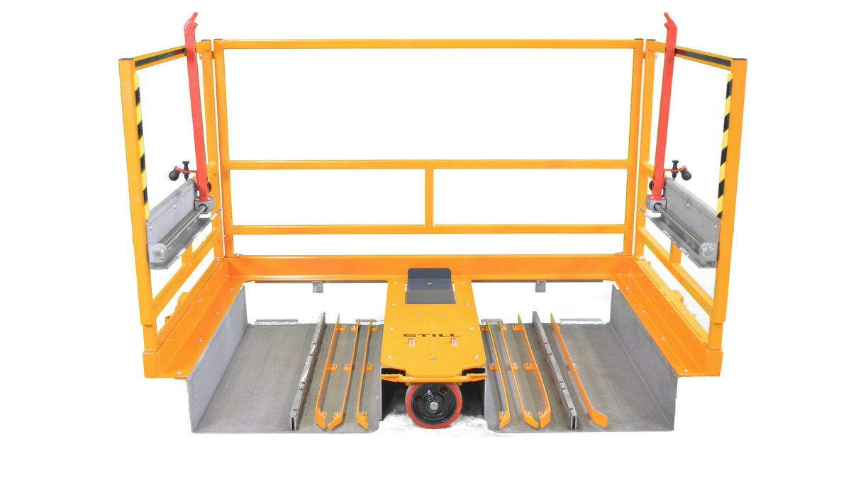On this picture you can see an E-Frame with protection against tilting. The Frame is also equipped with tubs and adjustable barriers to transport 8 different Trolley sizes.  #liftrunner  #lean  #toyotaproductionsystem  #leanproduction  #kaizen  #trolley  #dolly   #tuggertrain  #pokayoke