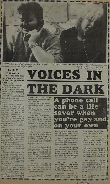London Gay Switchboard article, Islington 1986. #IslingtonsPride #LGBTHM20