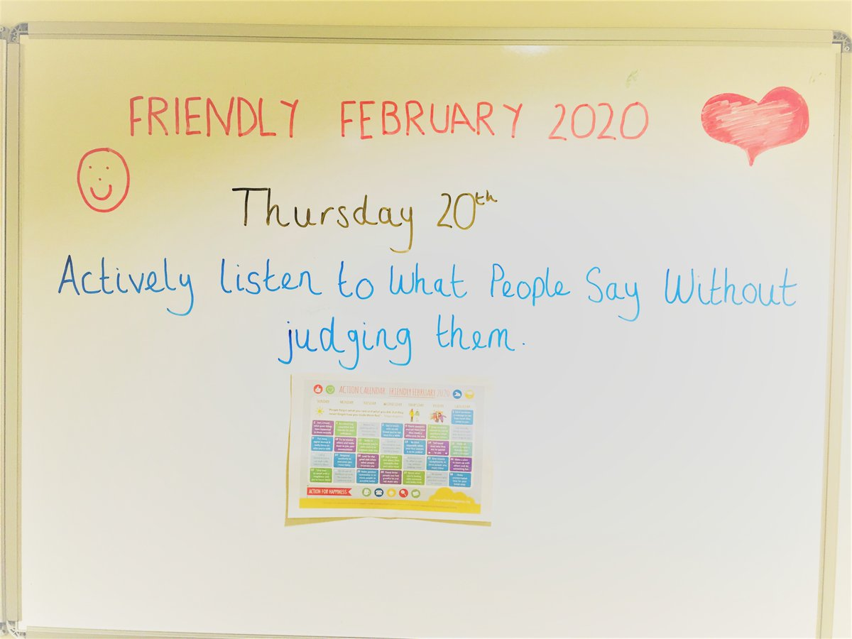 Taking inspiration from @actionhappiness Feb campaign, Runcorn #MHFA Tracey is keeping her colleagues involved in the daily activity. Just a simple quote to remind colleagues to value themselves and each other. #BeKind #BeKindToOneAnother #bekindtoyourself