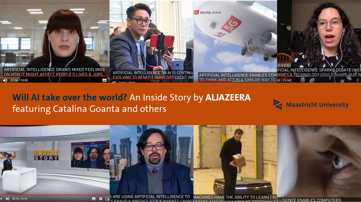 Will #AI take over the world? Besides the benefits, what are the risks? An Inside Story by Aljazeera, featuring @CatalinaGoanta @MaastrichtU, @carolinesinders, @eborgesrey - @AJEnglish - Check it out on Youtube📽️http://bit.ly/3bSv8vA