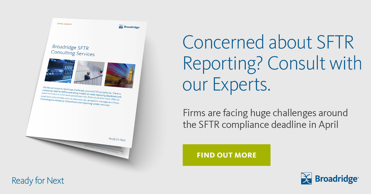 Are you ready for the #SFTR deadline in April 2020? Our experienced consulting services team can help you meet the SFTR reporting rules now. #consultingservices #SFTRcompliance #SFTRreporting   Find out more here:  https://www.broadridge.com/_assets/pdf/broadridge-sftr-consulting-services-brochure-august-2019.pdf…pic.twitter.com/pW2TPEaNCc