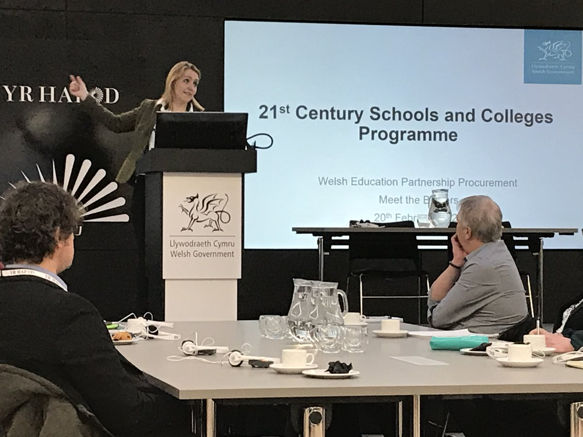 Great to be hearing presentations today from all three bidders for the @WelshGovernment C21 schools and colleges programme.   #MIM #21CenturySchools  Picture: Sara Humber, at @LP_localgov presenting