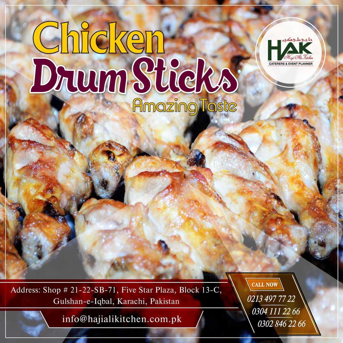 #HAK are offering some Spicy #Chicken #Drum_Sticks with rich taste & mouthwatering combination of spices & flavors. Book your orders Call Now: 021-34977722, 0304-1112266 or visit:   #Foodie #BBQ #Tasty #Catering #Tikka #Spicy #Wedding #Corporate #Party #Hot