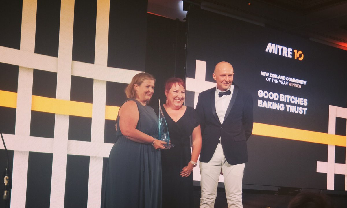 A massive congrats to @GoodBitchesBake, @mitre10nz Community of the Year! Making NZ the kindest place on earth by baking and distributing incredible goodies to Kiwis in need - we all LOVE your work GBB! #bestofus #nzoty #nzoty2020pic.twitter.com/vVJdFfowbR