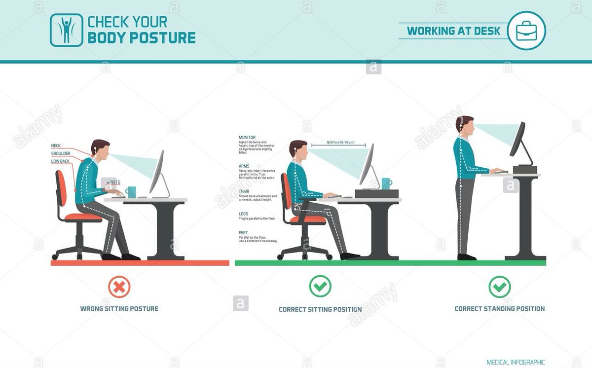 تمضي كم ساعة في #المكتب؟  اعرف الزوايا الي تحسن وضعية ظهرك  Have you heard of #ergonomics ? Set up your office with your #posture  in mind  #seating  #takecareofyourbody  #backpain  #standingposture