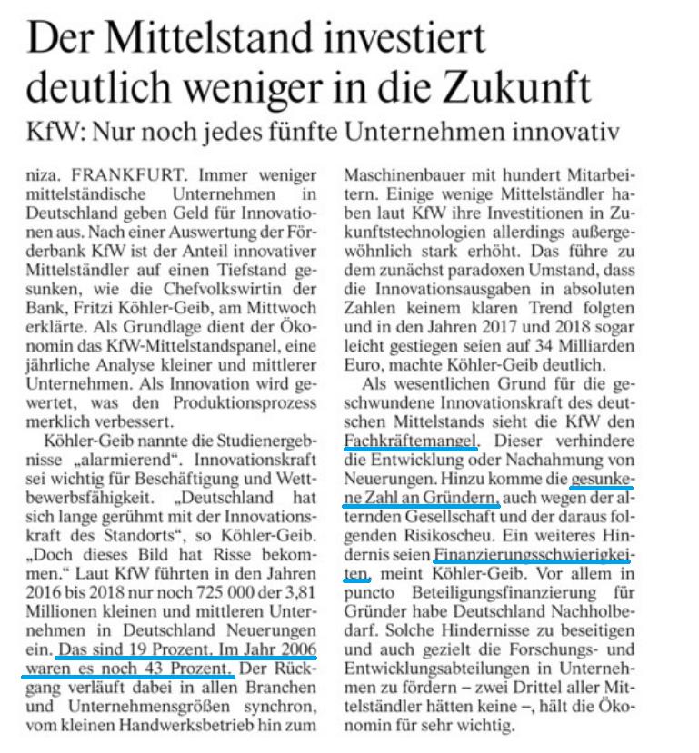 Laut #KfW Studie alarmierende Entwicklung im #Mittelstand: deutsche #KMU führen immer weniger innovative Produkte ein. Grund hierfür ist der #Fachkräftemangel, weniger #Gründer und Finanzierungsschwierigkeiten. Die Politik muss gegensteuern @BVMWeVpic.twitter.com/woVb8Qg2Bm