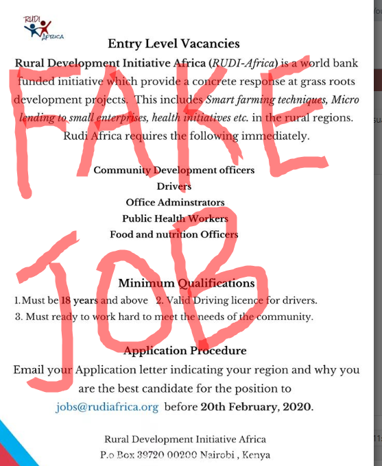 Take Caution – RUDI Doesn't Exist -  https://opportunitiesforyoungkenyans.co.ke/2020/02/20/take-caution-rudi-doesnt-exist/  … #IkoKaziKe   #PataKaziKe  #Gethired  #JobSeekers  #Jobs  ...