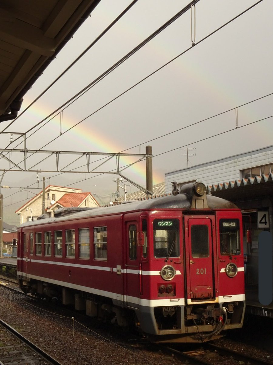MF201と虹🌈  上手いこと撮れなんだけど、虹が2つも…!慌ててカメラを出したな💦  「そのうちにTwitterに上げるか〜」と思っとったら、2週間近くも経っとる(笑)  2020年2月8日 宮津  #京都丹後鉄道 #丹鉄 #宮福線 #MF200形 #MF201 #京都