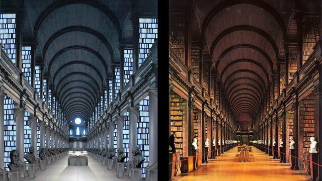 PHOTO OF THE DAY. The Jedi Library from Star Wars (left) and the Library of Trinity College, Dublin (right). <br>http://pic.twitter.com/S6ymxVL5ut