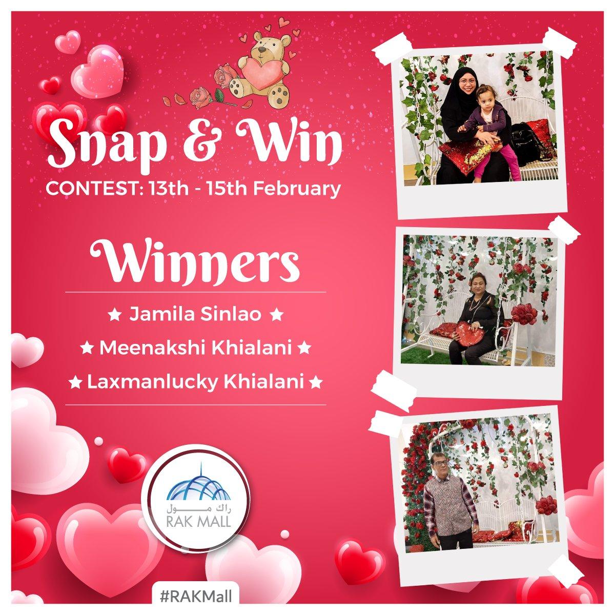#RAKMall #MyRAK #SnapNWin   Congratulations! Here are the winners from Valentine's Day Snap & Win Contest held at RAK Mall  #ValentinesDayContest