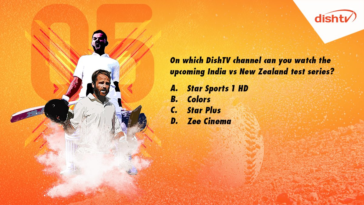 "Q5. ""On which of these DishTV channels can you watch the upcoming India vs New Zealand test series?""   Don't forget to use #INDvsNZTestCricket and bring home prizes like no other!   #ContestAlert #ContestIndia #Contest<br>http://pic.twitter.com/itGpR6QS23"