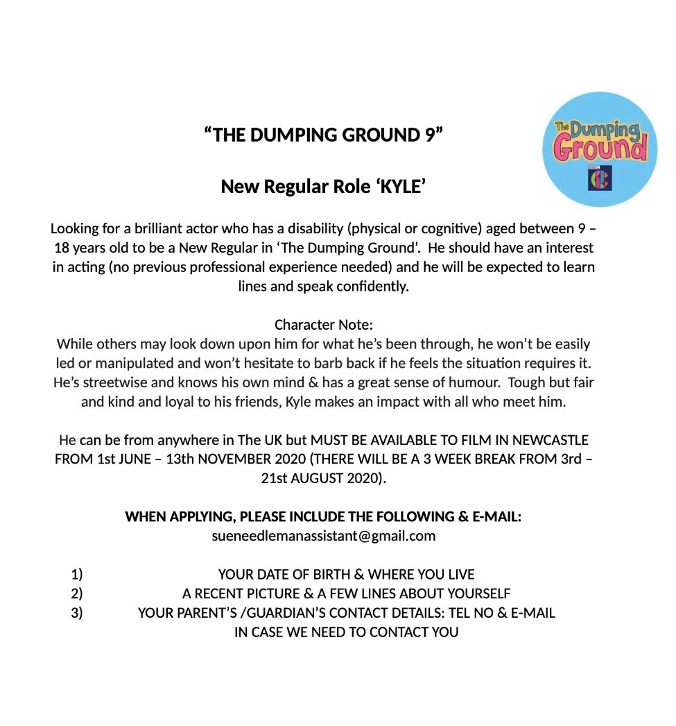 The Dumping Ground are looking for a #disabled male regular - aged between 9-18 details below. Must have an interest in acting. Please share!