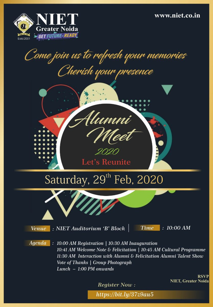NIET invites all of its alumni for the grand ALUMINI MEET 2020 which is to be organized on 29th Feb. 2020. Kindly fill in the registration form to acknowledge your available presence in the event.  #NIET  #ThinkNIETThinkAhead #Alumni2020 #Alumni #Career #GreaterNoida #reunitepic.twitter.com/TXoGahHLbH