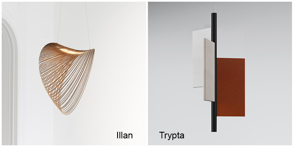 """Luceplan wins twice! Illan suspension by Zsuzsanna Horvath and Trypta acoustical lighting solutions by Stephen Burks are """"Best of"""" prize winners in the Design Plus powered by Light+Building 2020 competition.  more info: https://t.co/QDv1VInjiL https://t.co/tPtJqU2Qsy"""