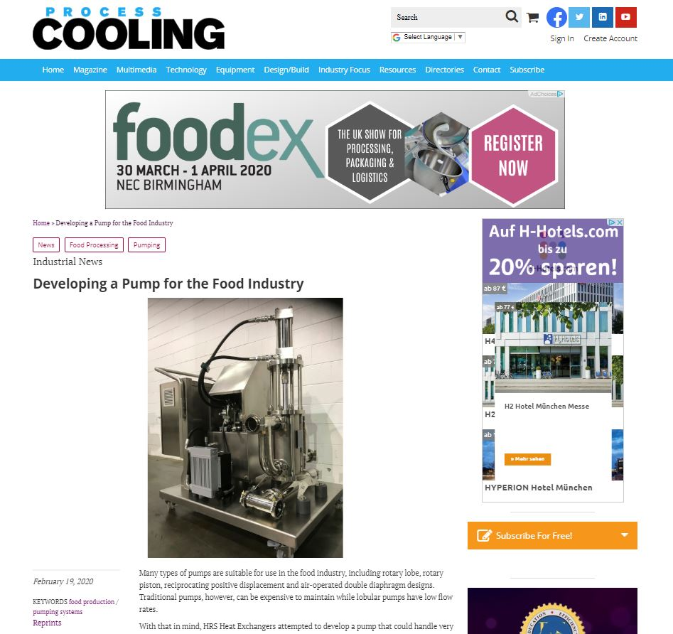 test Twitter Media - HRS is featured @ProcessCooling publication on 'Developing a Pump for the Food Industry'. HRS Heat Exchangers develop a pump that could handle very delicate and viscous food stuffs without damage. Read more: https://t.co/gyxjVySOaz #pistonpump #foodprocessing #foodsystems https://t.co/I7rEXRZqr4