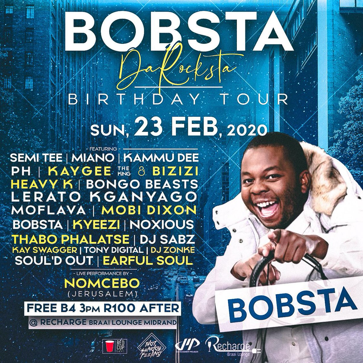 Outfit packed and ready for the #BobstaBirthdayTour  coz @Bobstadj is hosting again y'all @METROFMSA fam will be out and about so look out for @Leratokganyago @Shimza01 @iam_PH @Kyeezi @Moflava  @RechargeLounge  FREE BEFORE 4PM R100 THEREAFTER  23 Febpic.twitter.com/iBEgVneK4b