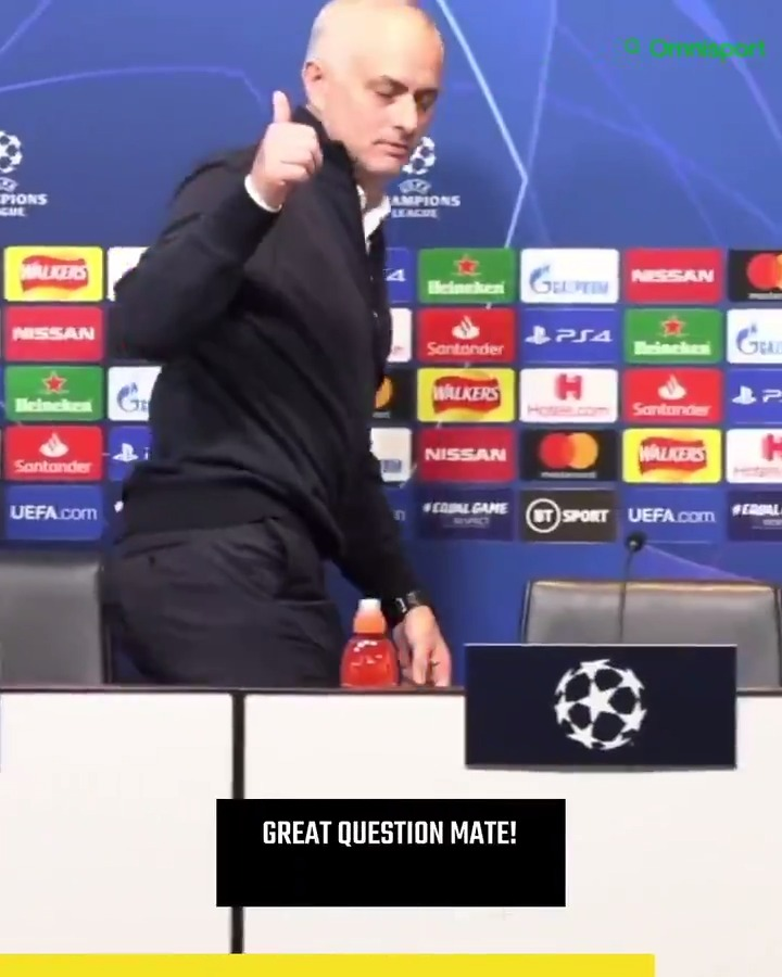 🗣 Reporter: Were Spurs bad or Leipzig good? 😬 Im not going to answer that because its out of order. 🙃 Great question mate! 😅 Another Jose Mourinho highlight reel.