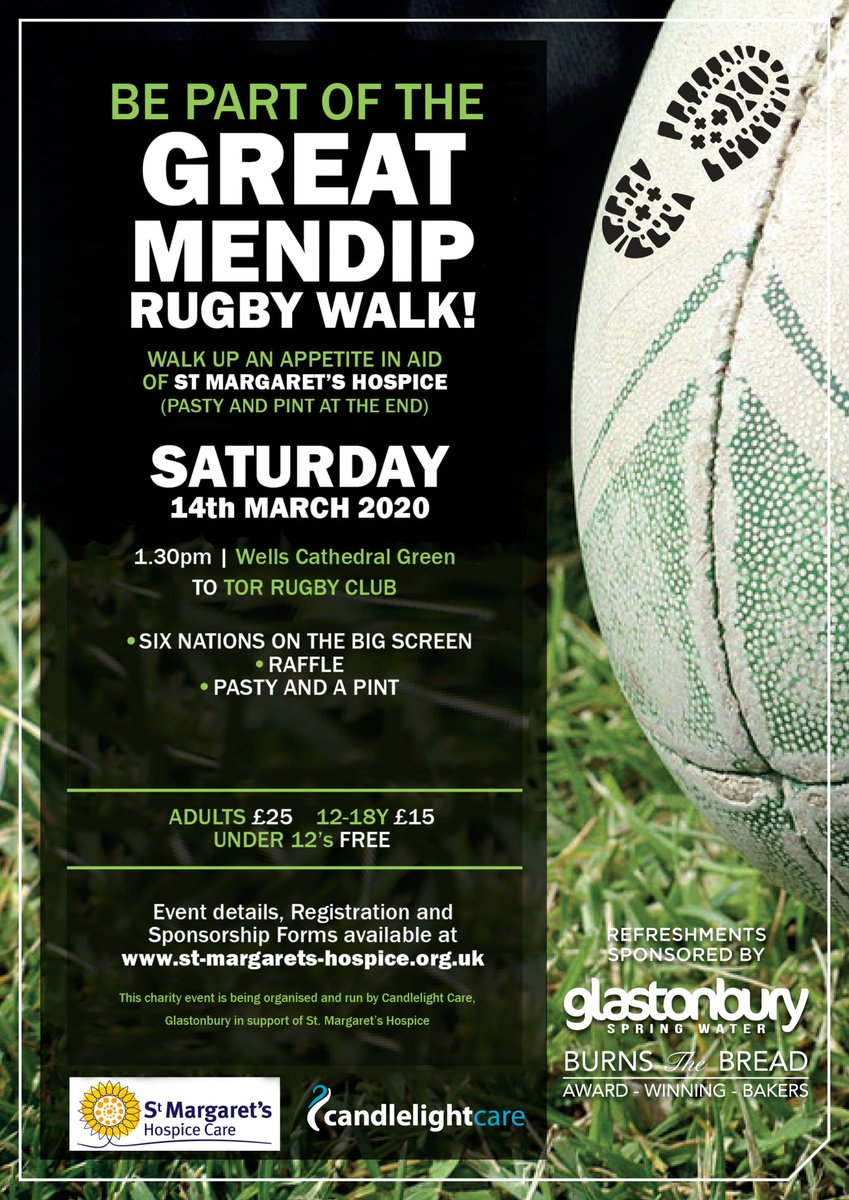 On Saturday it will be just 3 WEEKS until the Great Mendip Rugby Walk - so book your place now! You've still got time to wear in your new walking boots, organise a team, and get some sponsorship! #rugby #charitywalk #Wells    @GlastonburyFM @bbcsomerset