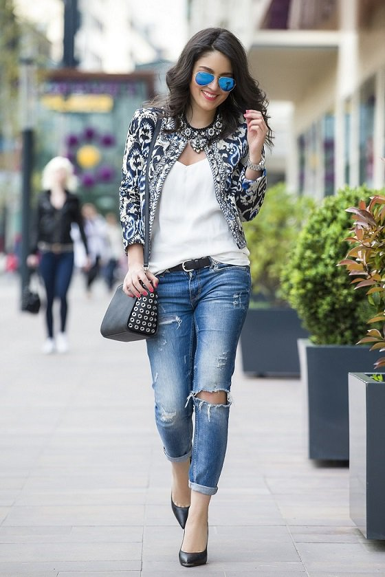 Monochrome Paisley printed bomber looks fantastic with simple slip top, ripped skinnies and mirrored aviator sunglasses. #fashion #style #love #like #instagood #follow #photography #photooftheday #model #beautiful #art #beauty #fashionblogger