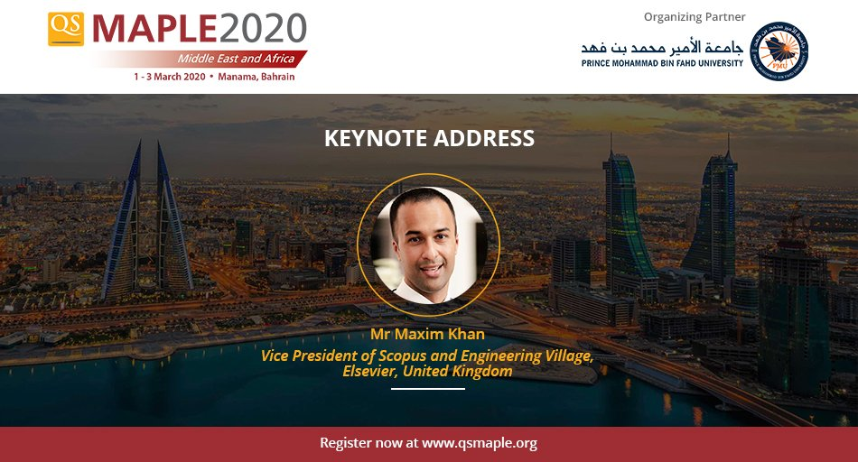 Elated to announce that Dr Maxim Khan will be joining us as keynote speaker at #QSMaple2020.  Dr Khan is is responsible for @ElsevierConnect 's Scopus and Engineering Village – the world's leading data and analytics portfolio.   Registration closing soon: http://bit.ly/qsmaple2020 pic.twitter.com/czEu7fX7qY